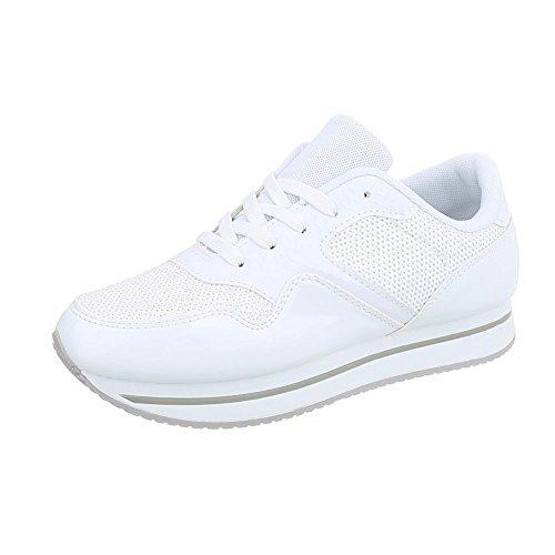 Ital-Design Sneakers Low Damen-Schuhe Sneakers Low Sneakers Schnürsenkel Freizeitschuhe Weiß, Gr 40, Ab-87- (Sneaker Design)