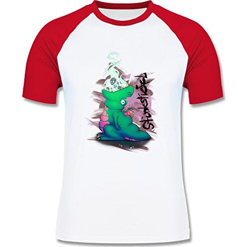 Statement Shirts - Stinkstiefel - zweifarbiges Baseballshirt für Männer Weiß/Rot