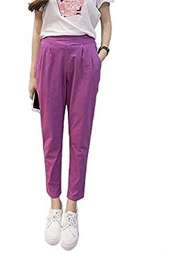 Mujer Pantalones Cintura Elástica Casual Pantalones Tamaño Grande Color Sólido