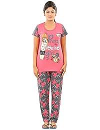 New Darling Womens PARADISE PINK CHARCOAL AOP Cotton Pyjama Sets