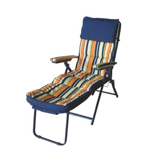 Papillon - Chaise longue en acier avec coussin rembourré et appuie-tête