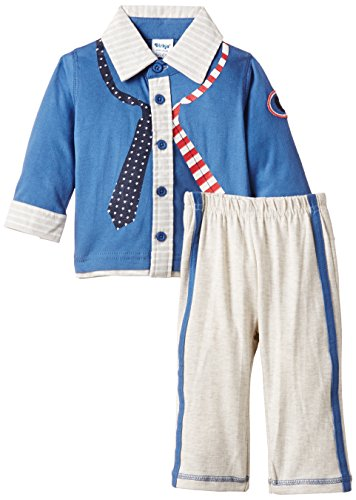 Dirkje Baby - Jungen, Unterwäsche-Set, 2-pce babysuit 'knitted blouse', Blau (mid Blue/beige Mêlée), Gr. 6 Monate (Herstellergröße: 68) - 2pce Set