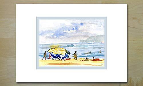 \'Le Parasol Jaune\' (Der gelbe Sonnenschirm) Kunstgrußkarte für jede Gelegenheit - Geburtstage, Glückwünsche, eine Einladung, ein Dankeschön oder nur eine kurze Notiz.