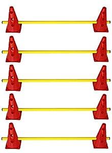 agility sport pour chiens - lot de 5 haies de coordination, jaune-rouge - 10x MZK23r 5x 100y