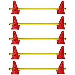 Agility Hundesport - 5er Set Steckhürden - 10x MZK: 23 cm, rot / 5x Stange: 100 cm, gelb
