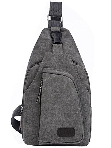 lemongirl Sling Brust Tasche für Herren Damen, Unisex Schulter Umhängetasche Rucksack für Reisen Wandern Camping Radfahren Mini Adult Handtasche Rucksack One Size grau