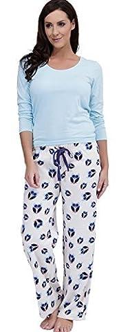 Ensemble de pyjama pour femmes avec pantalon en polaire à motif chouettes et haut en jersey - 40-42, Ecru/bleu