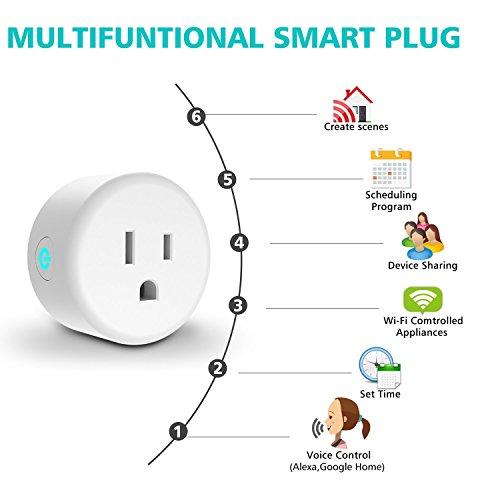 Wifi Smart Plug sans fil Mini, Smart prise Compatible avec Alexa Echo, Google Maison, Ifttt pour commande vocale, commande à distance pour votre appareils avec fonction de synchronisation à partir de n'importe où, sans hub (4packs)