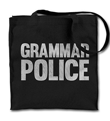 Grammar Police Komisch Schwarz Canvas Tote Tragetasche, Tuch Einkaufen Umhängetasche (Schwarz Gedruckt Police)