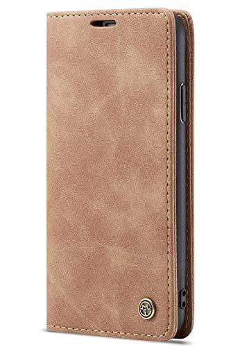 Handyhülle Case Compatible with iPhone 7/iPhone 8, Kusnt Leder Flip Case Handytasche mit Kredit Karten Hülle Geldklammer Unsichtbar Magnet und Stand Funktion Schutzhülle,Braun