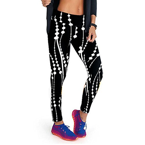 JUTOO Taille Haute Fitness Yoga Pantalon de Sport imprimé Stretch Neuf Points Leggings