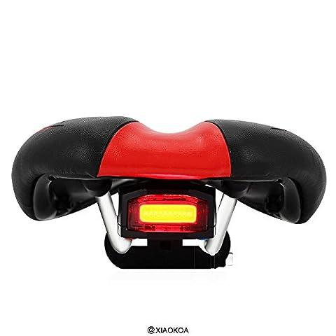 XIAOKOA- 3 en 1 Commande à distance antivol Siège de bicyclette intégré Feu arrière, Selle confort Coussin de siège de vélo Coussin avec alarme de vélo Bike Light Bicyclette de montagne Bell Tail Light Chargeur USB étanche, rouge et noir