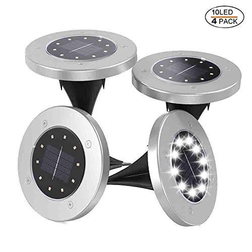 Luci Solari Giardino 10 LED led Lampade Solari da Esterno Impermeabile Faretti IP65 Impermeabile,4 Pezzi (Bianco)