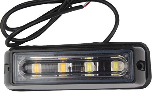 HEHEMM 4-LED Weiß & Amber Wasserdicht Notbeleuchtung Blitz Vorsicht Strobe Light Bar 16 Verschiedenes Blinken für Auto SUV Pickup Truck Van (Strobe Light Pickup)