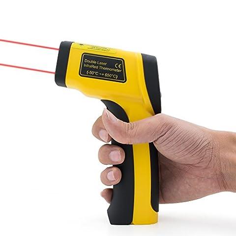 Sunray Thermomètre Infrarouge Sans Contact Double Laser pour Mesurer Température, avec Numérique Ecran LCD Rétroéclairé, -50°C à 650°C (-58°F à 1022°F) [9V Pile Inclus]