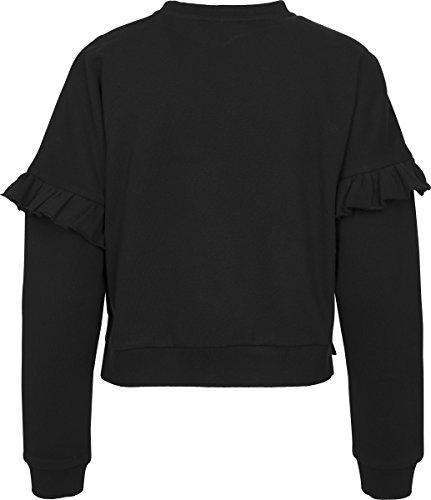Urban Classics Ladies Oversize Volant Crewneck, Pull Femme Schwarz (Black 00007)