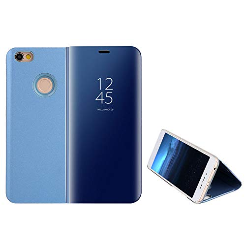 Funda Xiaomi Redmi Note 5A Prime, Anfire Piel Carcasa de Espejo Transparente Flip Inteligente Case Soporte Plegable Auto Sueño / Estela 360 Protección Cuero Caso Lujoso Cover Smart Bumper Tapa - Azul