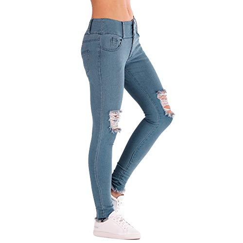 FRAUIT Damen Niedrige Taille Skinny Jeans Stretch Slim Hose Wadenlänge Bleistift Jeans Denim Hose Strech Mid-Rise Slim Fit Pants (Von Verkauf Zumba-bekleidung)