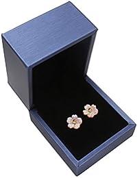 Blume Ohrringe für Frauen vergoldet Schmuck Ohrring Pink Rose Shell Ohrstecker mit Geschenk-Box 12x 3mm