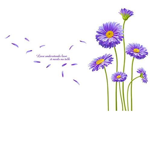 Preisvergleich Produktbild YTCY Aster Blume Blossom Wandaufkleber Lila Wandtattoos Für Wohnzimmer Schlafzimmer Dekoration