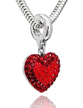 LillyMarie Damen Hals-Silberkette Sterlingsilber original Swarovski Elements Herz-Beads rot längen-verstellbar...