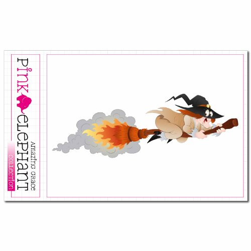 pinkelephant Aufkleber / Autoaufkleber - Hexe 09 - 13 x 4,5 cm - Halloween - witch