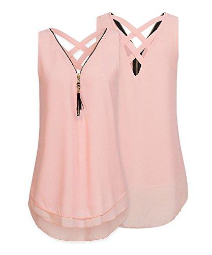 ASKSA Damen Chiffon Bluse Ärmellos Reißverschluss V Ausschnitt Rückenfrei Tank Tops T-Shirt (Rosa, XXL)