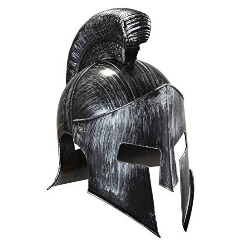 Amakando Spartaner Helm Römerhelm grau Spartanischer Krieger Gladiator Zubehör Römische Rüstung Leonidas Kostümzubehör