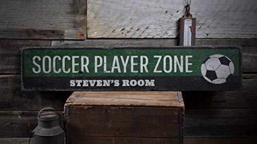 AAANDYEU Holzschild, Fußball-Spieler-Raum-Dekoration, Fußballliebhaber, kleines Jungen, personalisiertes Fußball-Geschenk, rustikales Wand-Decer, Elegantes Holzschild, Dekoration (Kleine Fußball-spieler)