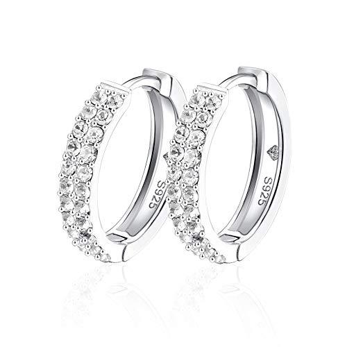 Yourdora donna argento 925 swarovski cristallo orecchini medi cerchio 18mm gioielli di moda