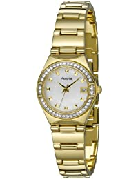 Accurist Women's Quartz Watch with Mother of Pearl Dial Analogue Display and Gold Bracelet Lb1660