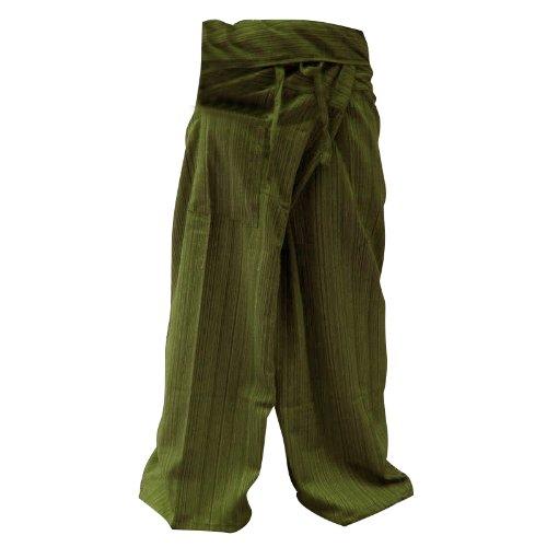 Thai Fisherman Hose Yoga Hose FREE Plus Size Baumwolle Olive Streifen