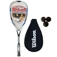 Wilson - Raqueta de Squash Azul Hyper Hammer Carbon 120 + 3 Pelotas de Squash