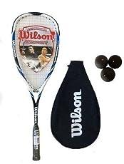 Wilson - Raqueta de Squash Azul Hyper Hammer Carbon 120 + 3 Pelotas de Squash - Peso del bastidor: 120g. - Construcción: 100% híper carbono. - Precio recomendado de venta: £150.