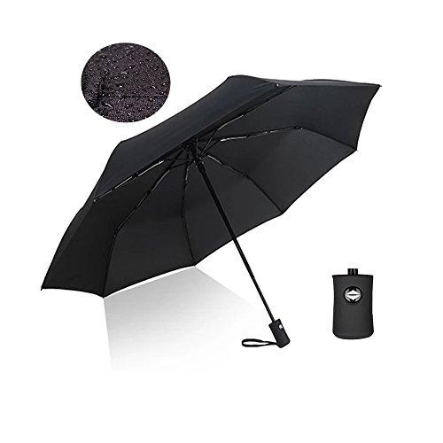 YanhuanChan Premium Regenschirm, leicht, winddicht, rostfrei in schwarz   2 Jahre Zufriedenheitsgarantie   Taschenschirm, Reise-Regenschirm, Outdoor-Regenschirm