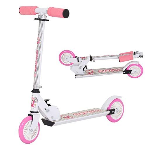 120mm Wheel City Scooter Pink- Cityroller mit Federung klappbar und höhenverstellbar, Kickscooter für Erwachsene und Kinder