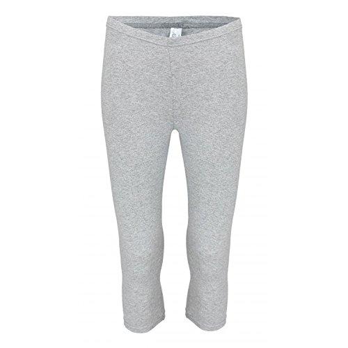 Alkato Damen Leggings 3/4 Capri Blickdicht Baumwolle Stretch, Farbe: Melange/Grau, Größe: 40