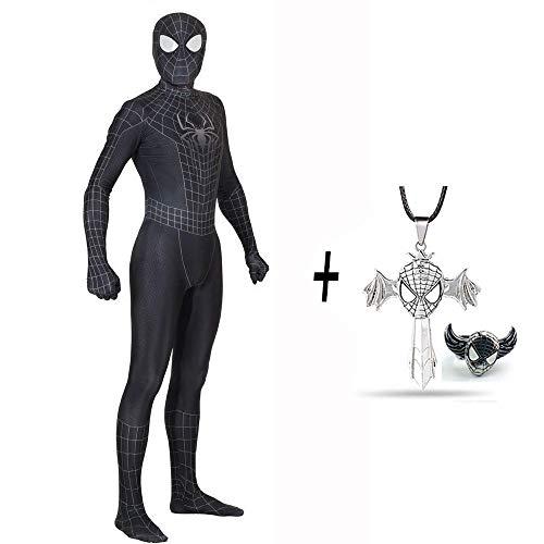 Außergewöhnliches Spiderman Kostüm Neutral Lycra Spandex Strumpfhose Kind Erwachsene 3D Stil Cosplay Kostüm Halloween + Kreuz Halskette Und Spiderman Ring,Black-XXL (Spiderman Black Kostüm Comic)