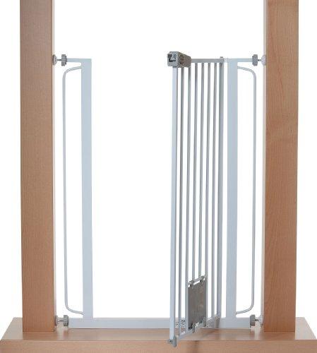 Impag Extrahoch 105 cm Türschutzgitter Hundeschutzgitter 75 – 149 cm mit Katzenklappe zum Klemmen Ohne Bohren Nala Weiß - 5