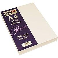 Craft UK, 100 fogli di cartoncino, colore bianco, formato A4, 300 g/m²