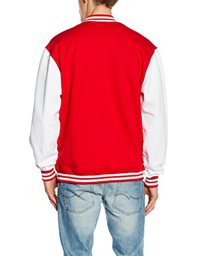 Urban Classics TB207 Herren Jacke Bekleidung 2 Tone College Sweatjacket Mehrfarbig (Red/Wht 202)