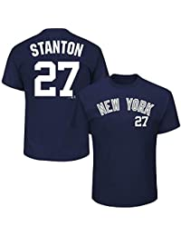 Majestic Giancarlo Stanton   27 New York Yankees Player MLB t-shirt navy 702d4f828e12