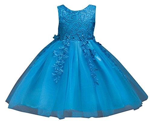 Ragazze Pizzo Tulle Vestito Lungo Bambina Elegante Principessa Abito Cerimonia Abiti da Sera Matrimonio Blu 110CM/4-5Anni