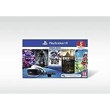 Sony PlayStation VR Mega Pack, Avec Casque PS VR + PS Camera + 5 Jeux Inclus, Système Compatible avec Toute Console PS4, Couleur du Casque : Noir et Blanc, Art. : 9998204