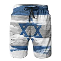 Ye Hua Israel Israeli Flag Painted On White Signs Symbols Israel Mens Boys Short Swim Trunks with Mesh Lining Quick Dry Mens Bathing Suits Swim Shorts XL
