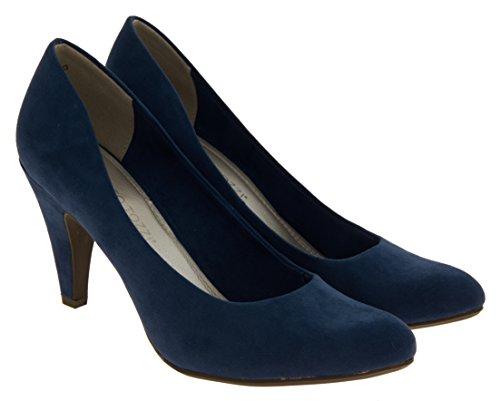 Donna Marco Tozzi finto camoscio scarpe tacco medio di corte Blue