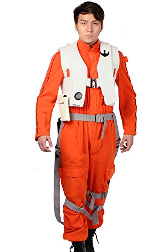 Halloween Poe Costume Orange Jumpsuit Vest Braces Pilot Cosplay Outfit X-Wing Fancy Dress Costume for Adult Clothing