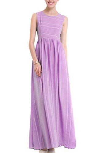 Damen elegante ärmellose Maxi Partykleid Pink