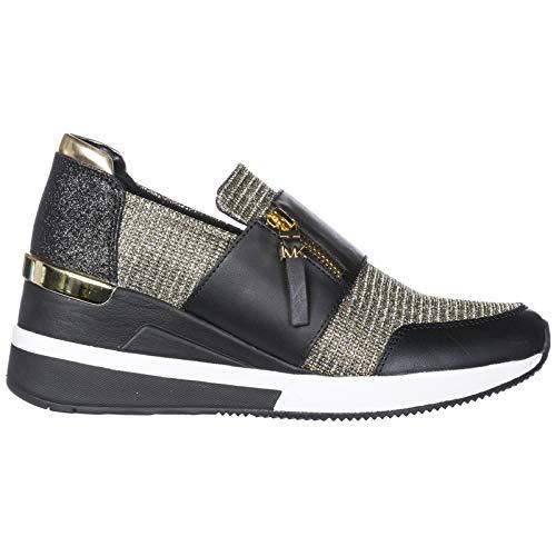 Michael by Michael Kors Chelsie Zapatillas Negras con Mallas de Oro Brillantes para Mujer
