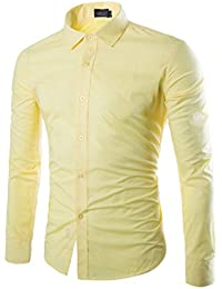 Usopu Camisa de Manga Larga Slim fit en Color Liso Diario para Hombres LiDxPmO6